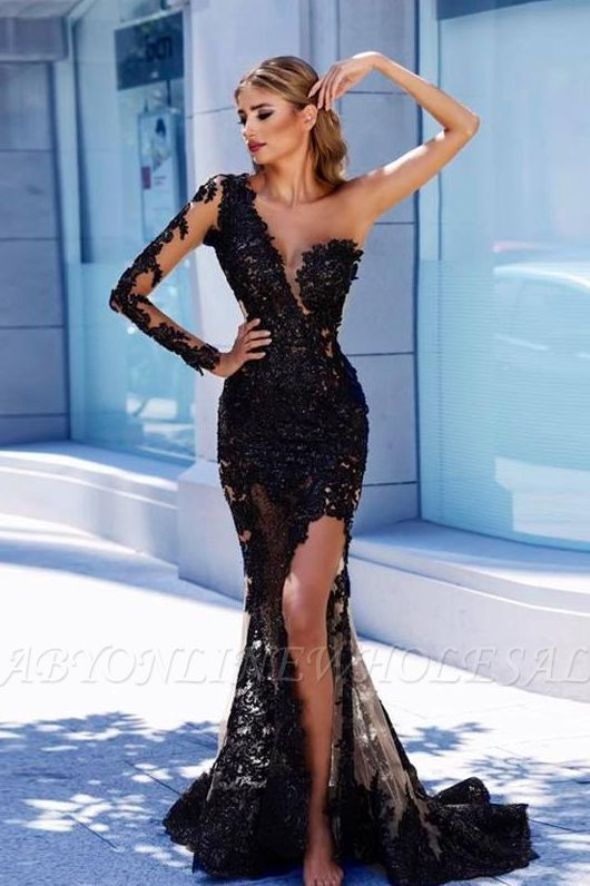 3c963ed82603 Modern Black Lace One-Shoulder Prom Dress