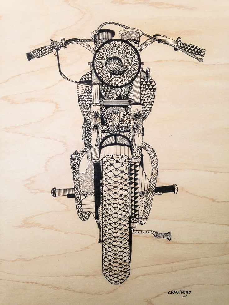Moto-Mucci: ART&DESIGN: Ink On Wood Illustrations by Zachary Crawford