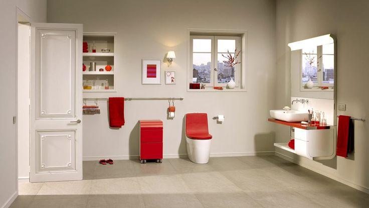 Дизайн совмещенный ванной комнаты с яркими нотками. Сочетание красного и белого цвета, прекрасно поднимает настроение. #дизайн_ванной_комнаты #аксессуары_для_ванной #красная_ванная_комната #совмещенная_ванная_комната
