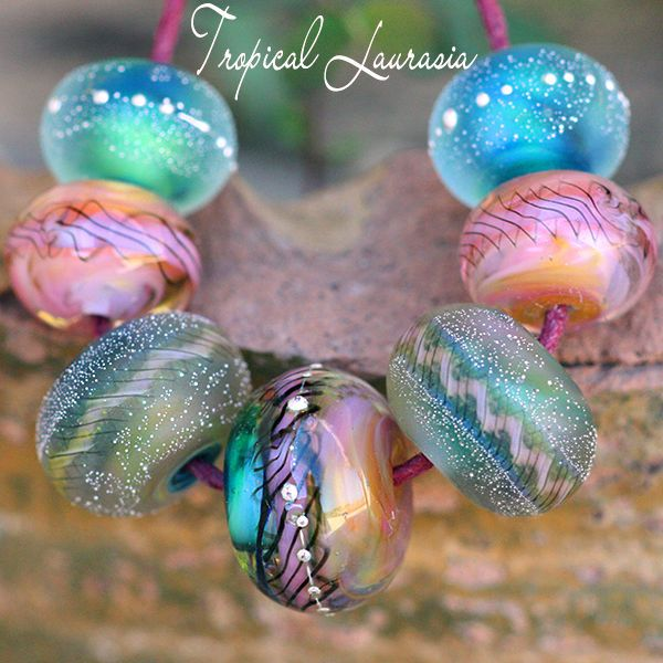 tropical laurasia rounds 7 lampwork beads handmade with fine silver sra a15