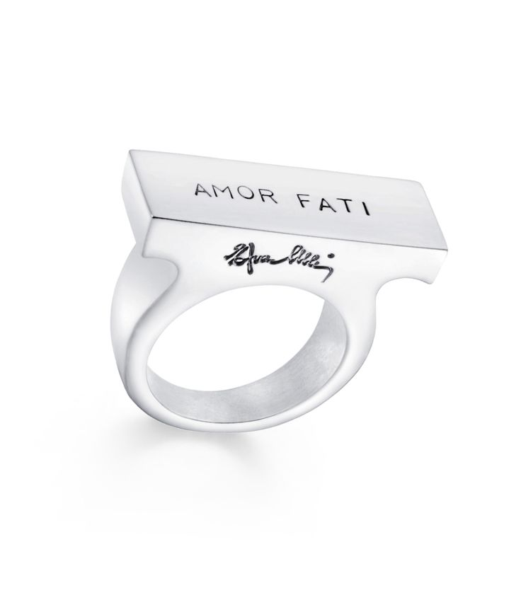 "Fall Jewelry Guide at #ShopBAZAAR: Whimsical Jewelry – Efva Attling Silver Funky ""Amor Fati"" Latin Statement Ring"
