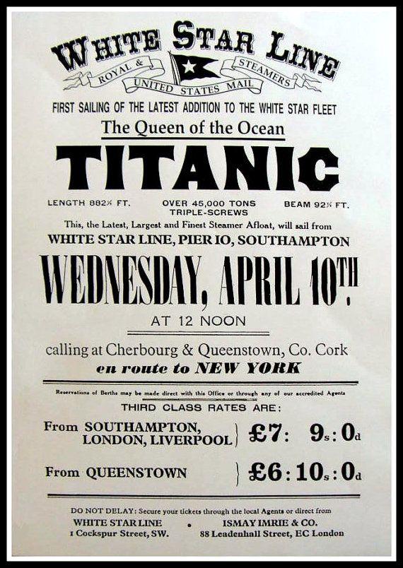 Art Print titanischen Jungfernfahrt Anzeige Plakat von BloominLuvly