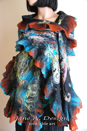 Mouse over image to zoom    Have one to sell? Sell it yourself  HANDMADE LAGENLOOK NUNO FELTED ITALIAN SILK, WOOL WRAP, AIRY SCARF, WEARABLE ART