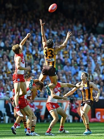 2014 AFL grand final | Herald Sun | Cyril Rioli couldn't complete this screamer in the first quarter. Picture: Nicole Garmston