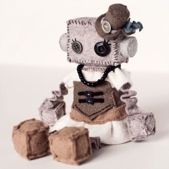 Steampunk Girl Felt Robot Plush Doll with Vintage by GinnyPenny, $32.00