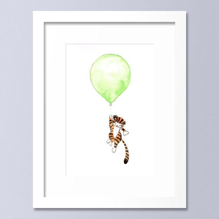 Baby Boy's Nursery Art, Tiger Balloon Print, Nursery Art, Animal Art Print, Wall Art, New Baby, Kid's Room, Tiger Picture by OneLittleBundle on Etsy