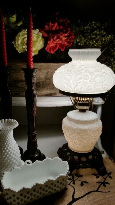 Milk glass lamp. My favorite yard sale find thus far.