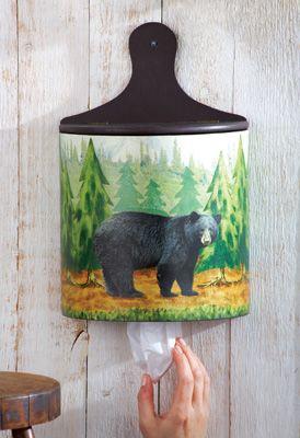 Northwoods Kitchen Black Bear Grocery Bag Storage Holder