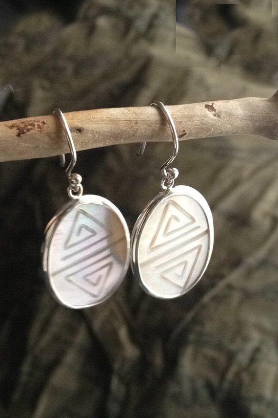 Mother of Pearl Earrings/ Silver Dangle by AVBohoJewellery on Etsy