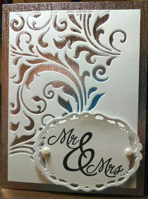 Mindy Cottingham: Sizzix Mixed Media #2 thinlits, Spellbinders Opulent Ovals, Stampabilities Mr & Mrs stamp