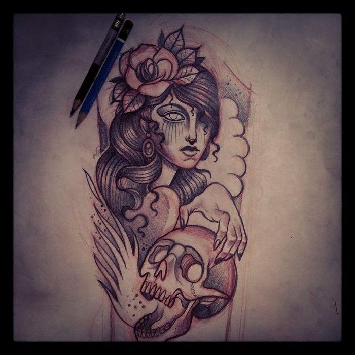 Dise o tatuaje media manga mujer con calavera tattoos - Mangas de tattoo ...