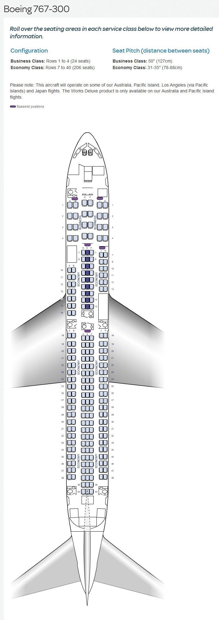 Air New Zealand Airlines Boeing 767 300 Aircraft Seating Chart Airline Seating Charts