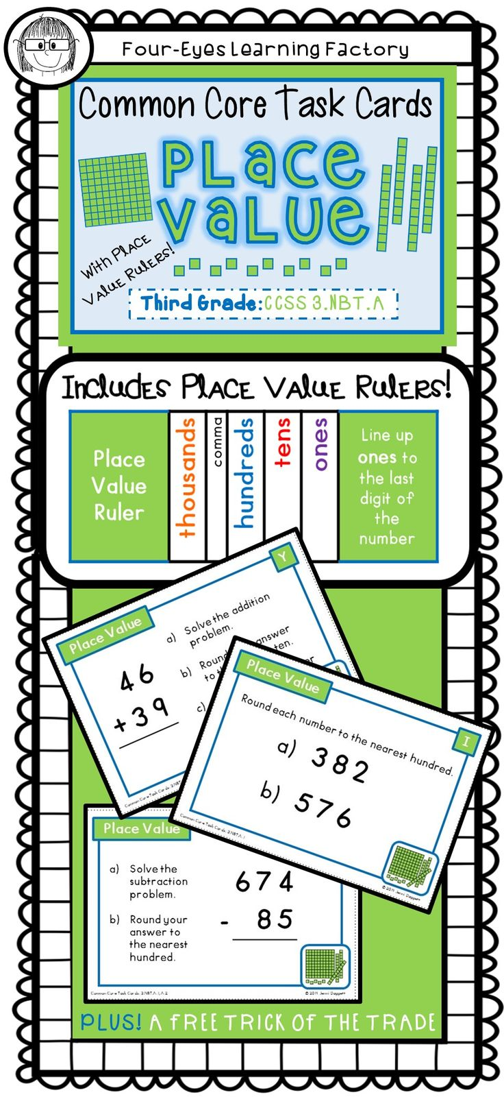 common core task cards place value third grade 3 nbt a places student and place values. Black Bedroom Furniture Sets. Home Design Ideas