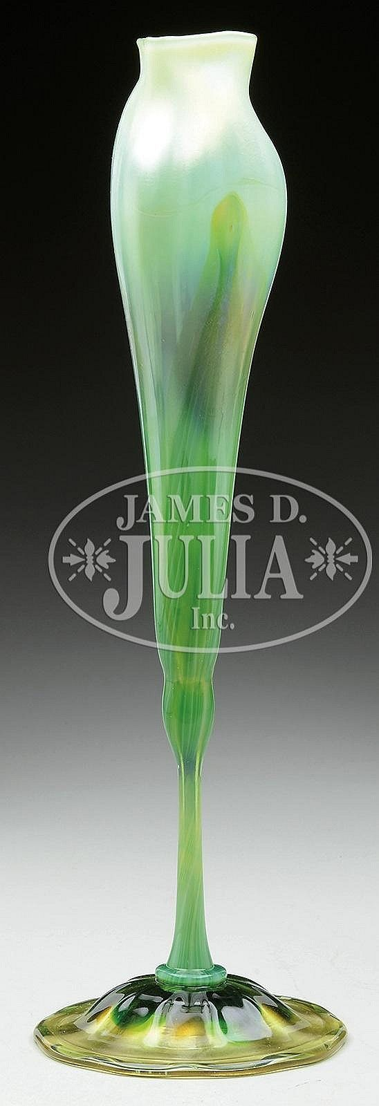 TIFFANY FAVRILE GLASS CALYX FLOWER FORM VASE.