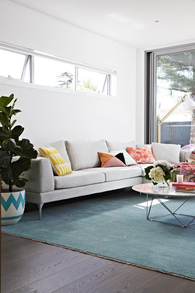 Colourful living room of stylist Aimee Tarulli of Archer Interiors