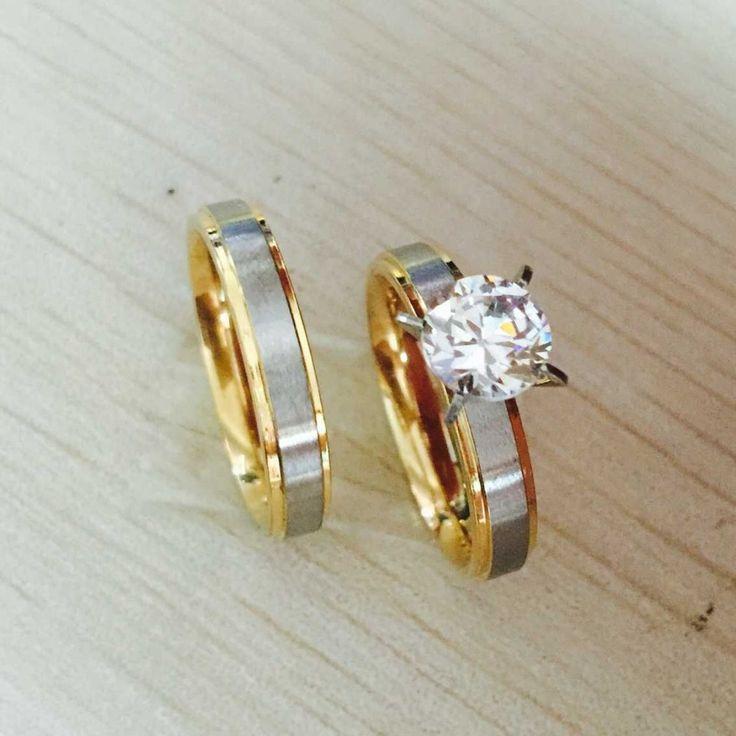 4mm acciaio di titanio diamante della cz coppia coreana anelli set per le donne degli uomini di fidanzamento amanti, lui e per lei promessa, 2 tono oro argento