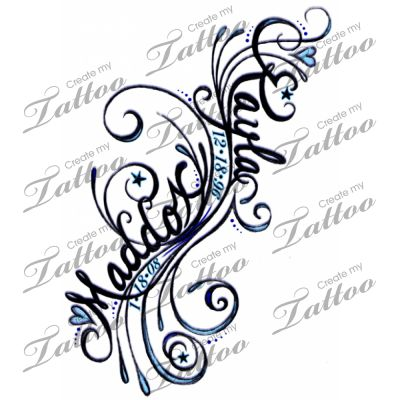 Kids Names on Filligree Tattoo With Childrens Names Entry 1 Color Option 2