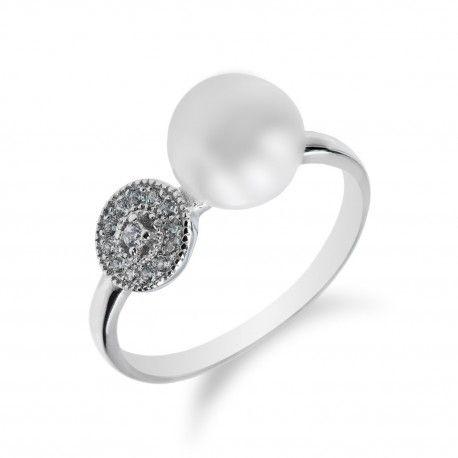 Stříbrný elegantní prsten s perlou a zirkony