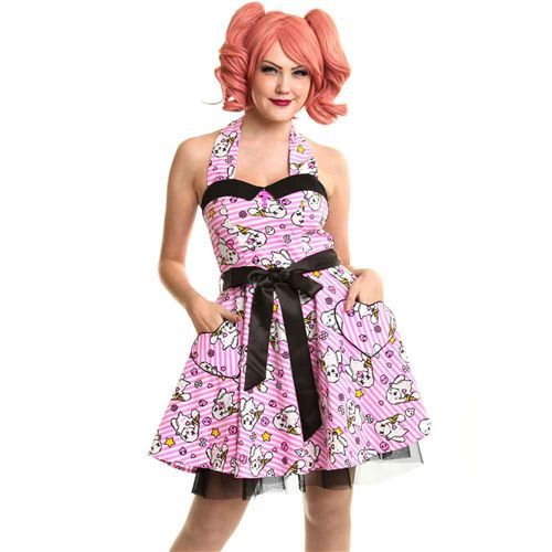Kawaii gestreepte jurk met konijnen print roze/wit - Emo