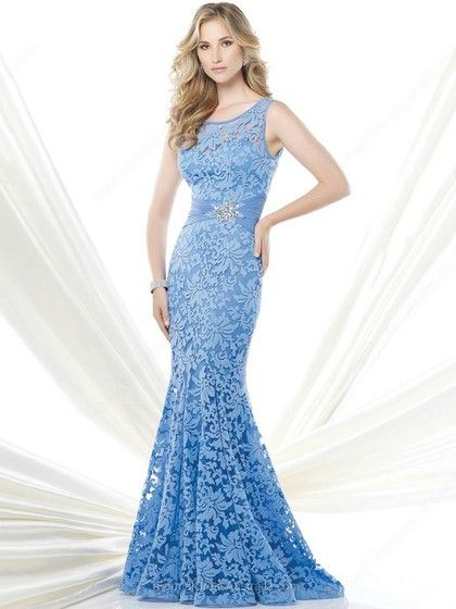 Trumpet/Mermaid Lace Scoop Neck Sashes / Ribbons Sweep Train Formal Dresses -AU$203.99