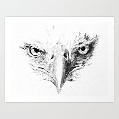 Eagle Art Print by Anna Shell - $14.56 Possible Tattoo Idea. Maybe with red/white/blue or our flag incorporated in it.