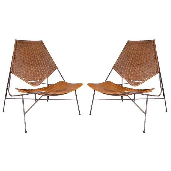 Arthur Umanoff; Enameled Metal, Wood and Rattan Lounge Chairs, 1956.