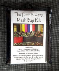 """Fast & Easy Mesh Bag Kit are perfect for the beach!  Kit includes: mesh, lining fabric, webbing, fast & easy pattern and handy bag. Approximate size: 18"""" wide by 15"""" high with a 4"""" gusset.  Fast & Easy Mesh Bag Kit  are available ins several colors! by Lyle Enterprises"""