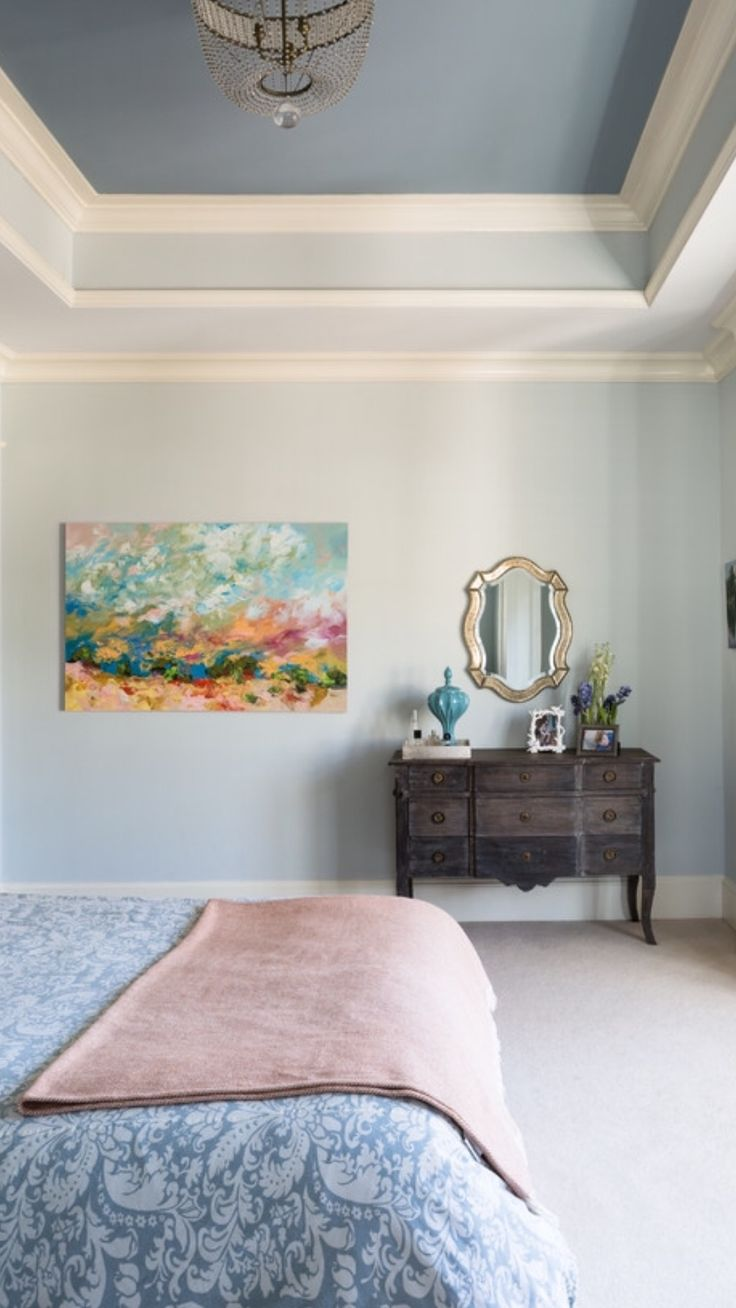 Love the painted ceiling! Wall color Glass Slipper, tray ceiling Santorini Blue, both by Benjamin Moore. Room designed by Liza Holder / Homegrown Decor. Seen on Houzz.
