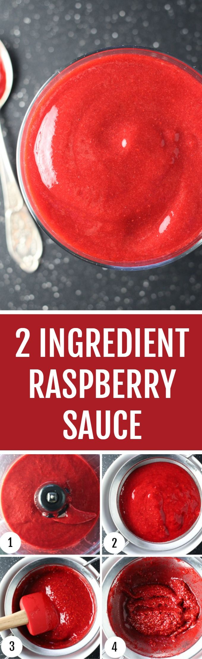 Make this silky and smooth raspberry sauce in just 4 easy steps. No cooking required, and you only need 2 ingredients. Can be served with a variety of dishes.