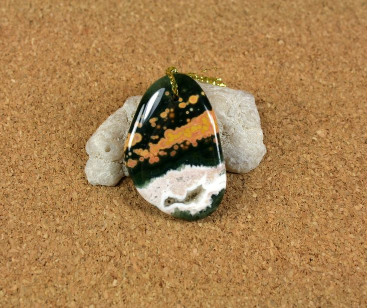 Ocean Jasper Oval Pendant - Front Drilled Smooth Green Yellow and White Necklace Pendant