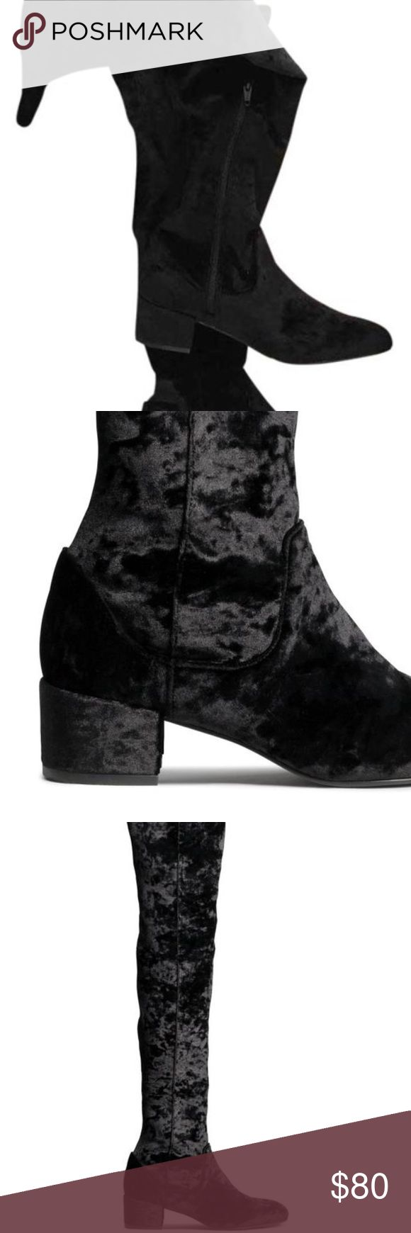 H&M Crushed Velvet Over The Knee Boots Black Sz 8 Worn once, H&M Boots in Black Crushed Velvet, stretch thigh high, size 8 - worn 2x H&M Shoes Over the Knee Boots