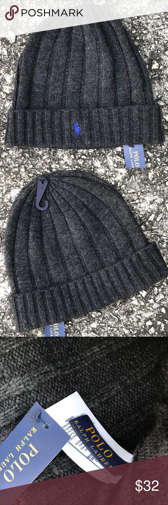 NWT - RL POLO Beanie Authentic Ralph Lauren POLO Beanie  • Unisex • Dark Gray with Royal Blue POLO emblem • 50% Wool, 50% Nylon • BNWT 💲Price is Firm💲 Polo by Ralph Lauren Accessories Hats