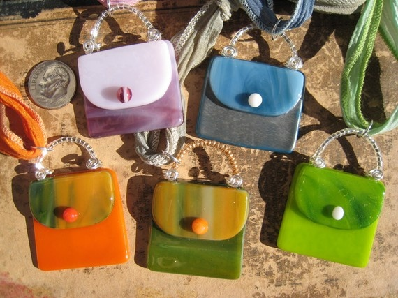 Fused glass purse pendants