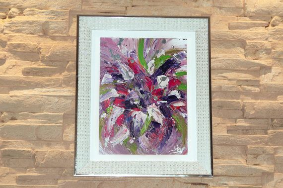 #AbstractPainting #OriginalArt, #WhiteFrame #SilverFrame #FloralArt #CloseUpdetails #Artdetails #Modern #FramedPainting #WhiteandPink #PinkArt #PurpleArt #ChristmasGifts #LargeWallArt by #JuliaApostolova on #Etsy
