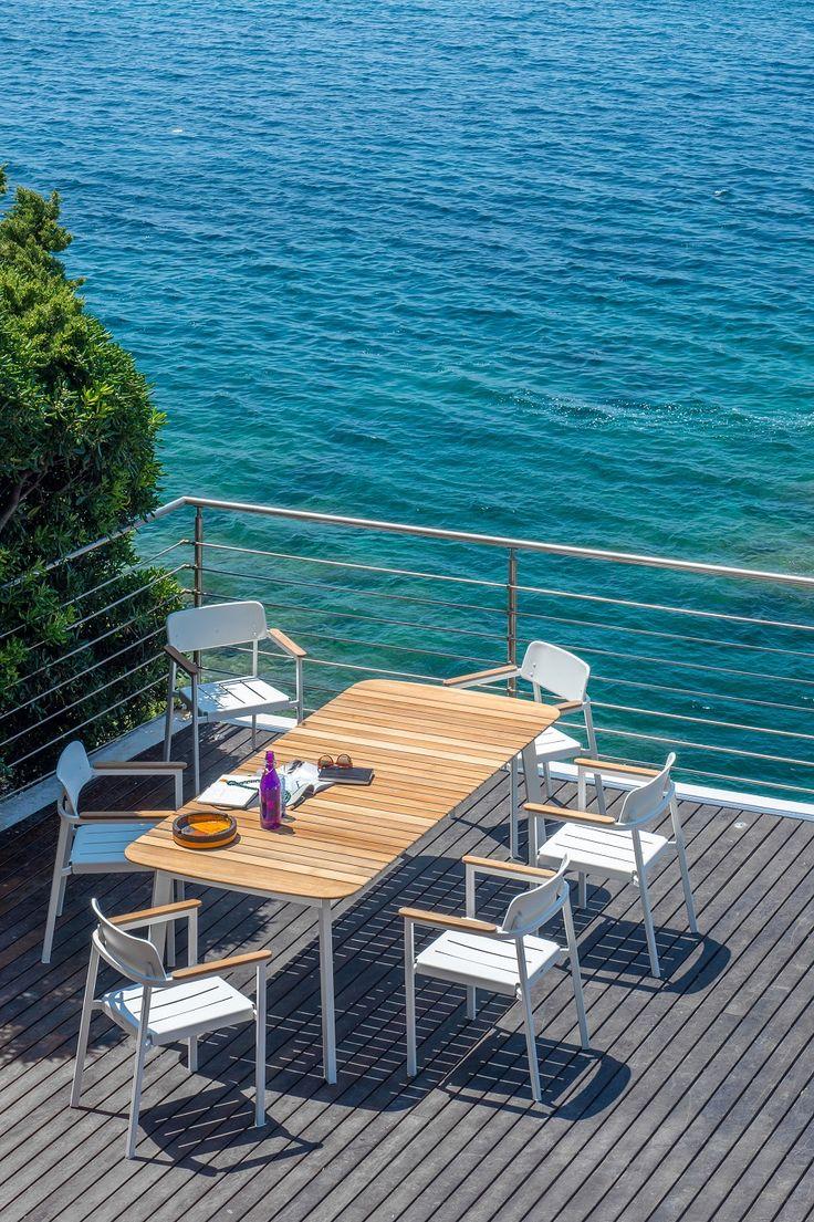 Tables de repas 1 table de repas carr 233 e avec rallonge ta 113 - Table Shine Plateau Teck 225 X 100 Cm Blanc Plateau Teck Emu