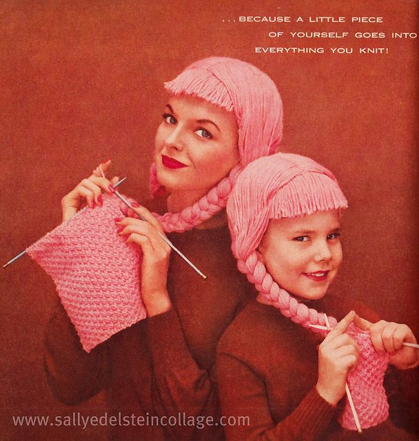 1950s ad. #ad #knitting #1950s #vintage #fifties #pink #crafts