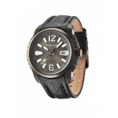 Montre Homme Police, bracelet cuir noir, boîtier acier, verre minéral, date.