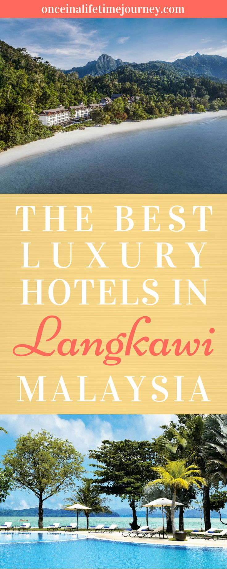 Langkawi is Malaysia's Bali and Phuket all in one. There are laid-back beach parties at Pantai Cenang, thick jungles to explore, rich mangroves, white sand beaches, posh marinas and resorts galore. It is no surprise then that the list of Langkawi luxury hotels is long. Click through to see my pick of the best luxury hotels in Langkawi for each type of luxury traveler. | Once in a Lifetime Journey #langkawi #luxury #luxuryhotels #malaysia