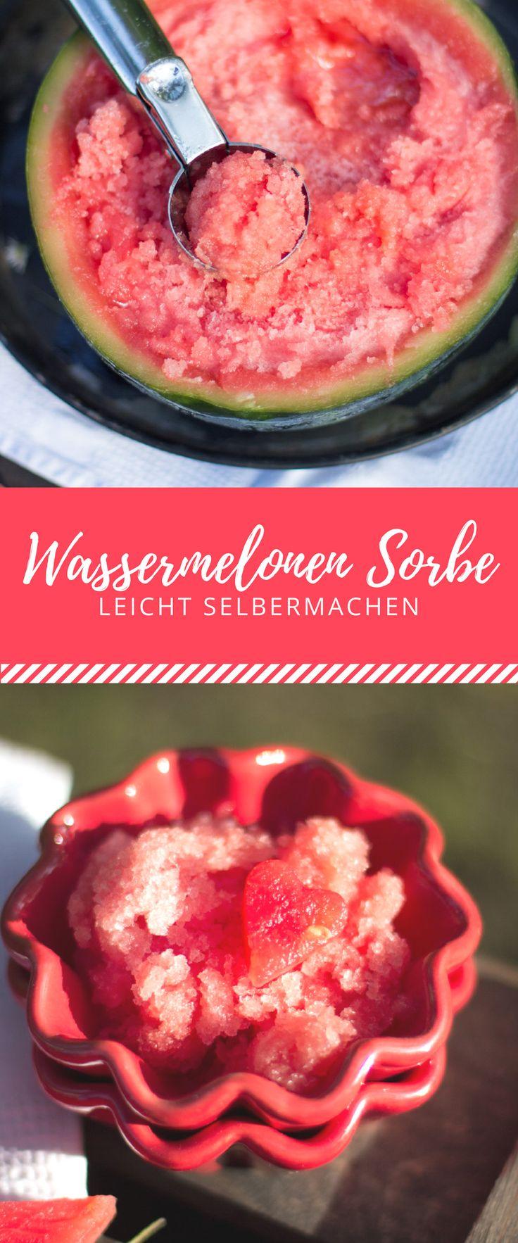 Super einfaches Wassermelonen Sorbe. Kalorienarmere Alternative zur Eiscreme. Mit diesem leichten Rezept leicht nachmachen!