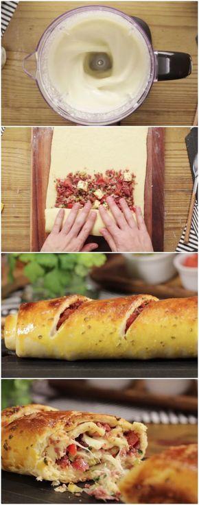 Pão recheado muito fácil! #pao #recheado #facil #receita #gastronomia #culinaria #comida #delicia #receitafacil