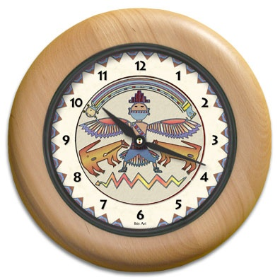 Rainbow Man Round Wood Wall Clock - From our Southwestern Clocks category, this clock features a Native American pictogram Thunderbird symbol.  $63.00