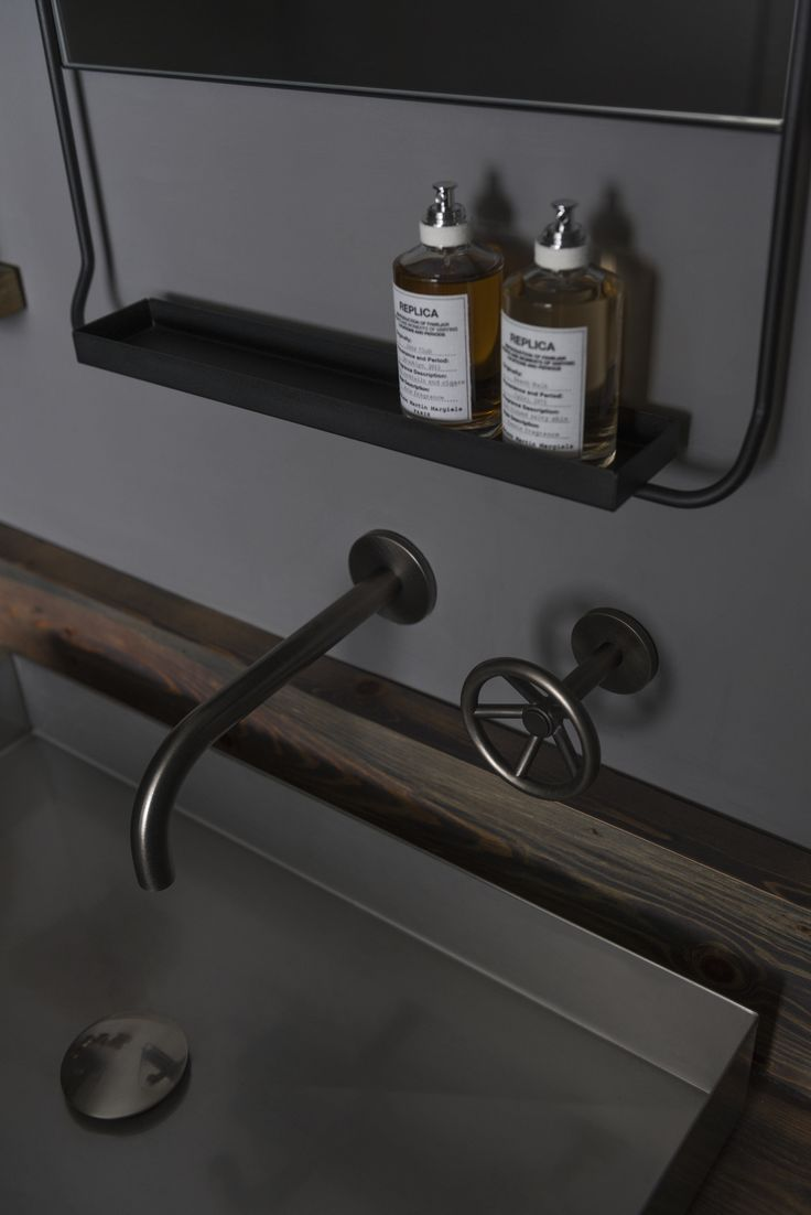 The Watermark Collection Brooklyn Wall Mounted 2 Hole Basin Set in Pewter Finish Interior Design: Amos & Amos Developer: Manor Property Photographer: Nikhilesh Haval. www.thewatermarkcollection.eu