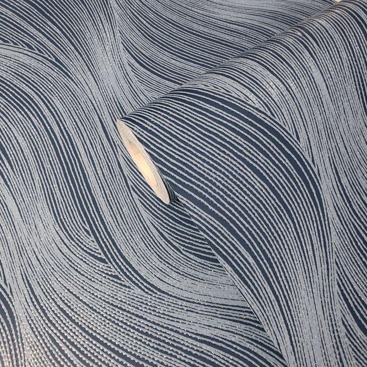 WM15310501 Textured modern wallpaper navy blue silver