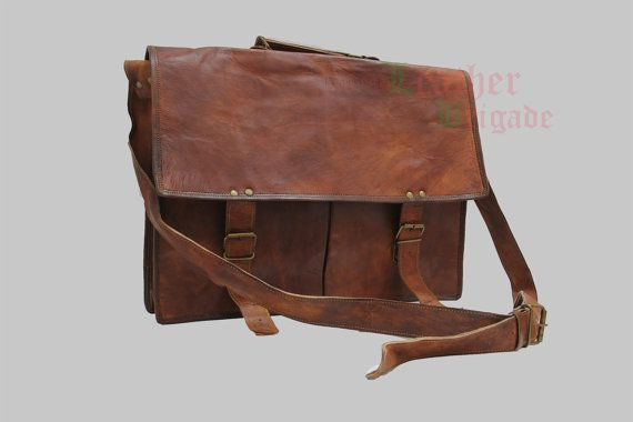 Gift for men15 inch leather messenger bag by leatherbrigade, $67.00