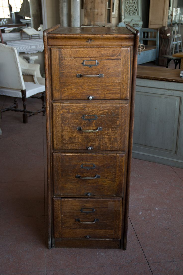 Awesome Antique Oak File Cabinet 4 Drawer