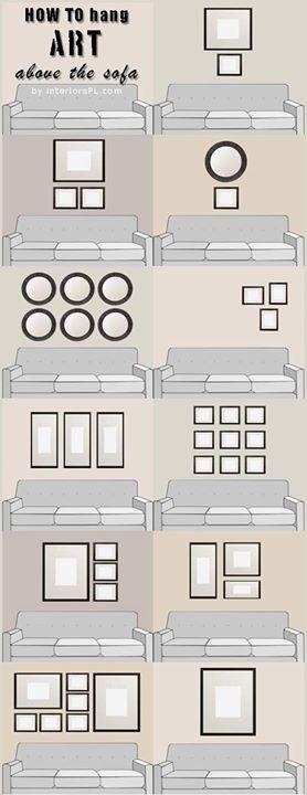 Disposição de quadros acima de sofás.