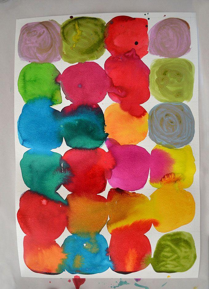 Kandinsky inspired circle painting art prompt for kids.
