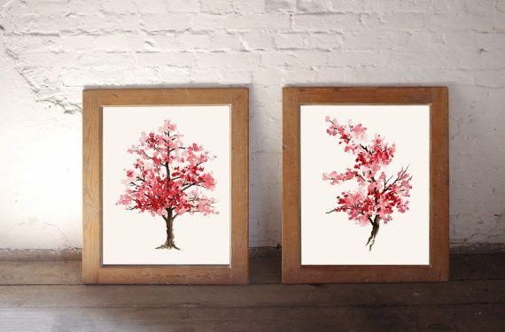 Kirschblüte Gemälde, Rosa Kunstdruck Set 2 Aquarelle, Home Dekor Haushaltswaren