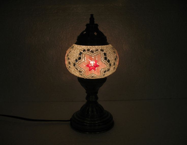 White Mosaic Glass Table Lamp Tischlampe Moroccan Lantern Lampe Mosaique M  55 #Handmade #Moroccan