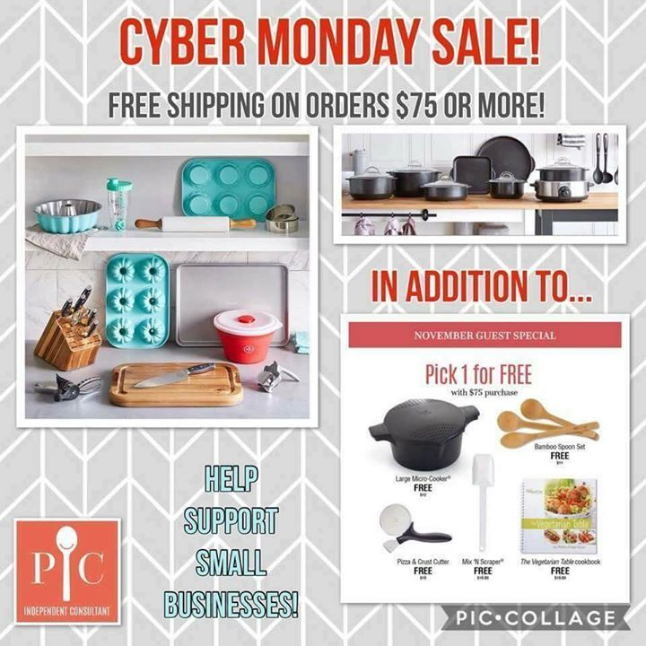 MAY I HAVE YOUR ATTENTION PLEASE?  Today is Cyber Monday!  Pampered Chef has announced that in honor of it they are offering FREE SHIPPING on orders ( Outlet Sale Section AND Full Catalog) of $75.00 or more when they are placed through my weblink!  FANTASTIC!!  And to celebrate it further I am offering a special BONUS GIFT to everyone who participates in Cyber Monday with me!  I will ship it to you once your order has been placed.  Just click the link below and HAPPY SHOPPING!  As always of…